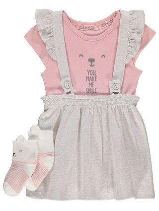 🚚 George. Grey Pinafore Bodysuit + Socks Outfit