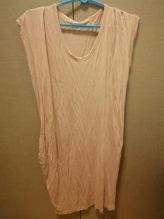 Long flowy dusty pink dress
