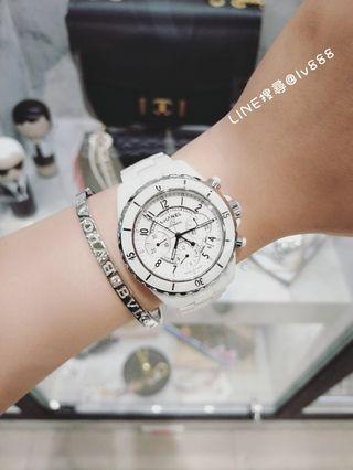 Chanel j12 白色陶瓷三眼計時手錶