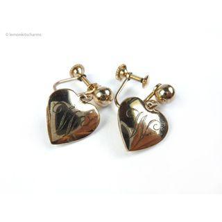 Vintage 1950s W Heart Earrings, er1777-c