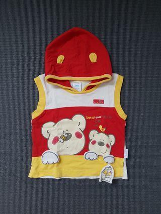 Atasan tanpa lengan bertopi bayi merah kuning Pipiniko sz 0 - 6 bulan