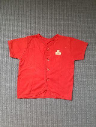 Atasan bayi merah polos miyo sz 3 -9 bulan