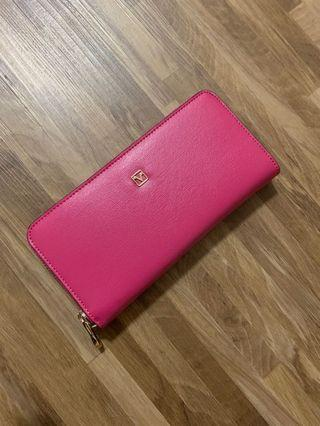 Valentino Rudy Pink Leather Zip-Around Long Wallet