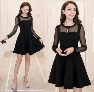 [New Instocks] Korean Ulzzang Style Sexy Black Dress / Sexy Lace Black Long Sleeve Dress / Black Mesh Size XL