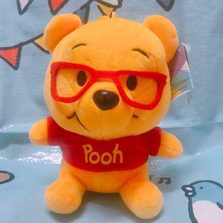 【台灣直送】Winnie the pooh 小熊維尼 戴眼鏡 毛公仔