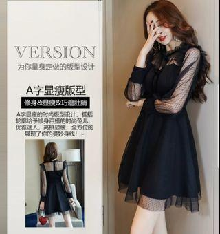[New Instocks] Korean Ulzzang Style Sexy Black Lace Dress / Sexy Black Mesh Long Sleeve Dress Size XL