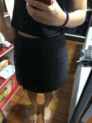 🚚 深藍厚料a字褲裙