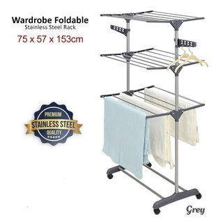 Cod✔ self pickup cheras ✔ 3 Tier Grey Colour Foldable Drying Rack Clothes Rack Clothes Wardrobe