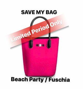 Save My Bag. Popstar. Tote Bag. Beach Party/Fuschia colour. 100% Polyester. 100% Rainproof. Lightweight. Durable. MADE IN ITALY. Avail at $129 online and Takashimaya.