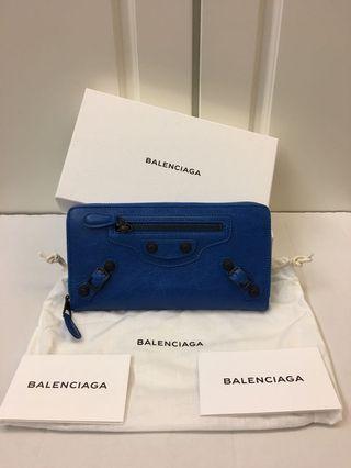 🈹️🈹️100%New Balenziaga名牌藍色真皮經典長身錢包100%真貨(特價$4900包郵,不退換)(男女都可以)