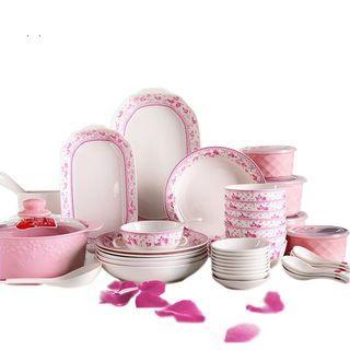 Cod✔ self pickup ✔ Kitchen Ceramics Tableware Dinner Set Ceramic Soup Bowl Rich Plate Bowl*12