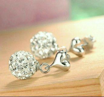 🚚 925 Sterling Silver Korean Style Shiny Cystal Balls Earrings