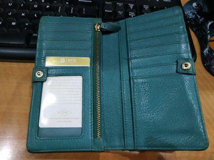 Dompet fossil wallet leather hijau tosca