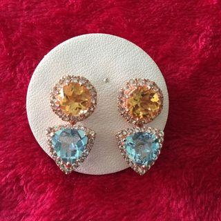 CUTE!! Citrine with blue topaz DETACHABLE Earrings