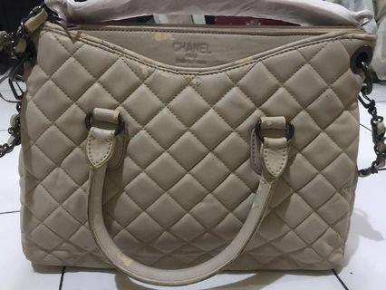 tas chanel premium putih gading