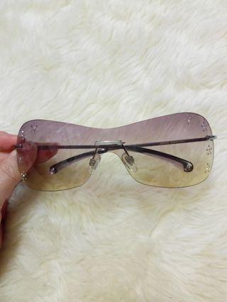 🇯🇵日本設計無框款 鏡片鑲嵌奧地利頂級晶鑽 紫黃漸層色超輕盈時尚太陽眼鏡 🙋抗UV400
