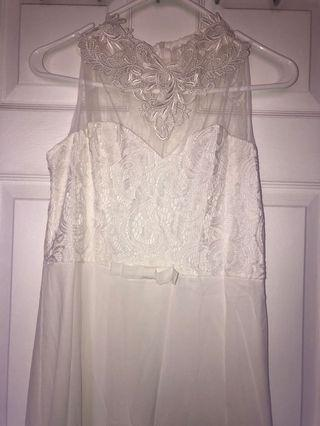 Long White Dress Lacey Bow