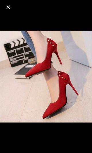 Instock sexy Studded pointed red high heels * Brand new in box * chat to buy if int