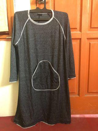 (Preloved) Mididress kaos abuabu