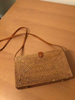 Tan rectangle basket weave rattan cross body shoulder bag