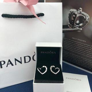 PANDORA Bright Hearts Hoop Earrings