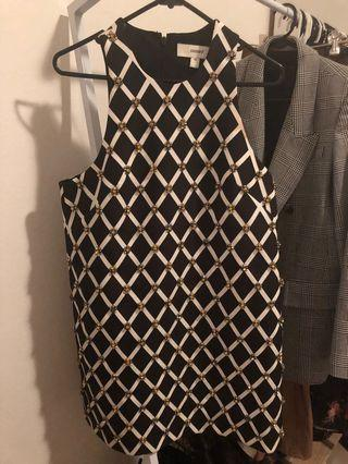 Cameo size 10 black white beaded shift mini cocktail dress