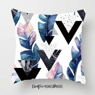 FEATHER GEO MARBLE WATERCOLOR GRAPHIC CUSHION COVER