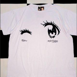 authentic omighty anime eyes wink white big oversize tee