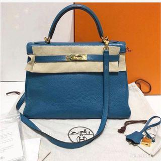 Hermes 32 blue izmir Kelly- clemence leather