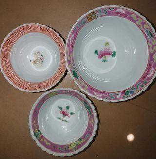 3 pieces of peranakan tea cups/ Phoenix/bamboo and butterflies