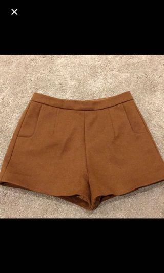 Petite Brown shorts work winter sz4