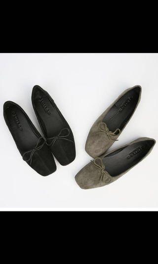 ballet flat khaki bowtie work shoes