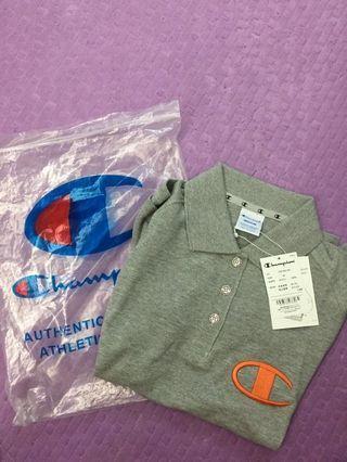 日版champion 灰色刺繡 logo Polo Shirt