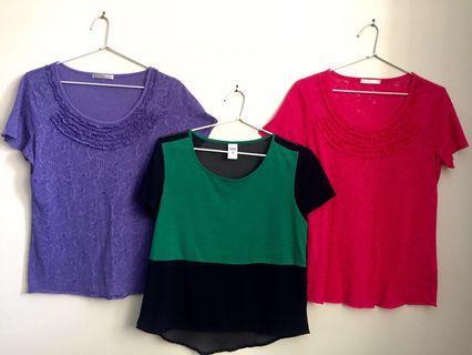 Ladies Summer Tops t-shirts x 3