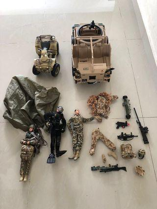🚚 Army toys, truck, quad bike, figures and accessories