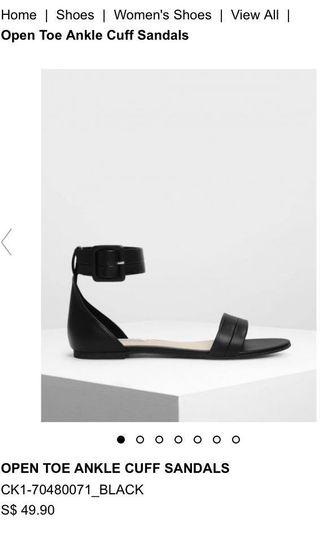Charles & Keith Open Toe Ankle Cuff Sandals