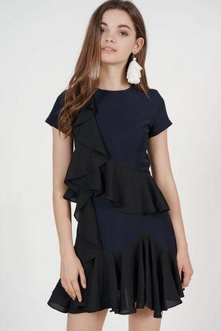 Mdscollections Tiered Ruffled Dress in Navy