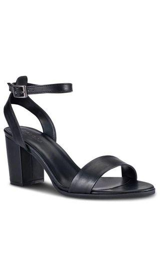 Zalora PU Ankle Strap Heeled Sandals