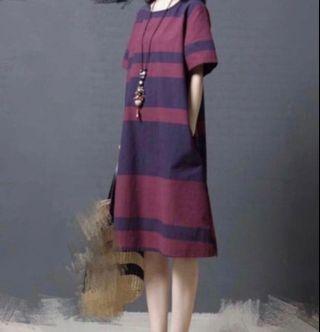 紫紅色橫間條短袖連身裙