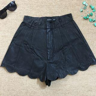 Mink pink faux leather shorty shorts