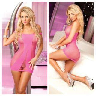 New Pink Fishnet Stocking Stretch Dress Boxed by Pink Lipstick One Size