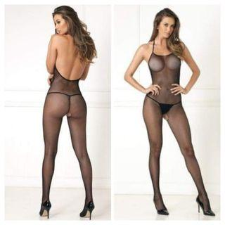 NEW Hot Black Fishnet Full Crotchless Bodystocking Boxed by Rene Rofe One Size
