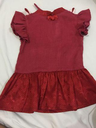 Ramadhan SALE- Baby dress merah lucu