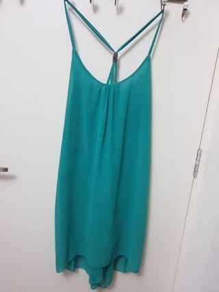 Green summer dress low back