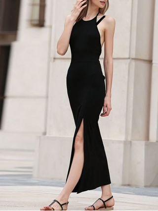 Black Maxi Slit Spaghetti Long Bodycon Dress