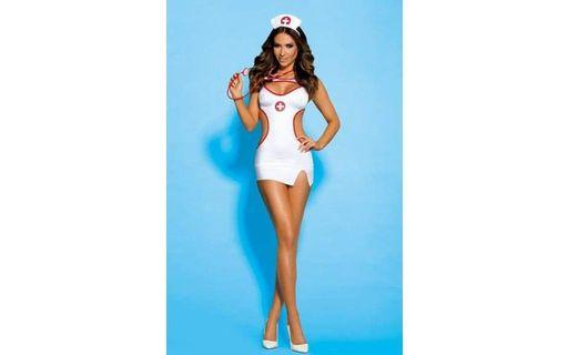 New Boxed Naughty Nurse Costume Includes Stethoscope available in S/M or L/XLarge