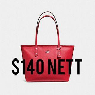 🚚 Coach City Zip Tote in True Red - Last Call Clearance