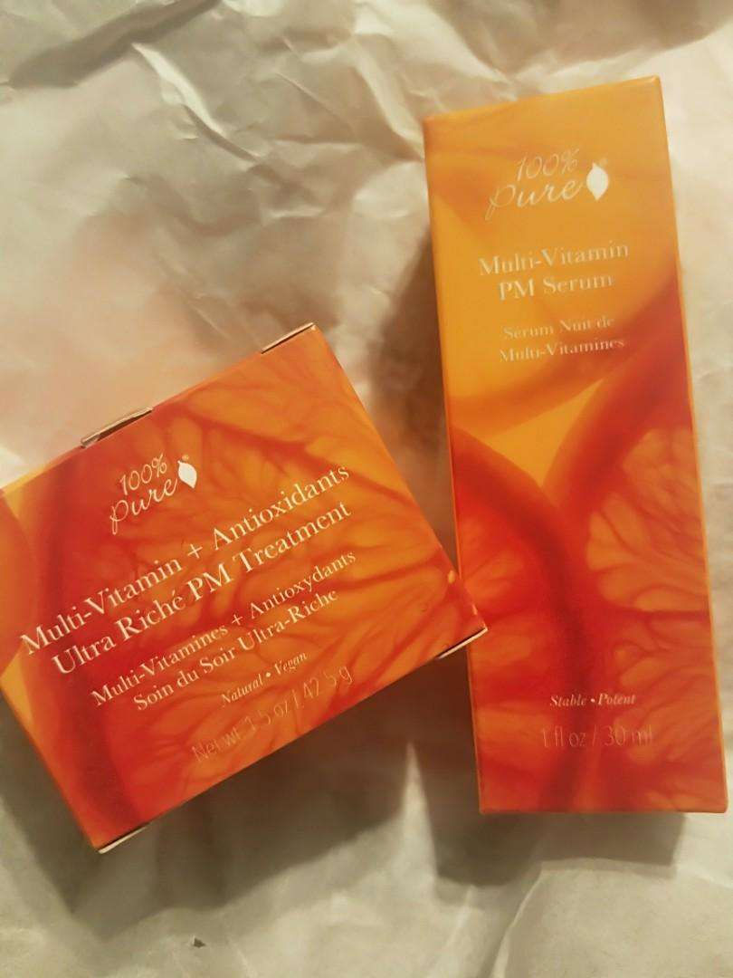 100% Pure Multi-Vitamin + Antioxidants Night Cream + Serum 2 Pack