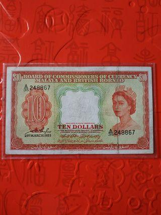 1953 MALAYA & BRITISH BORNEO QEII $10 A/35 248867 VF