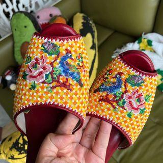 Peranakan beaded shoes peep toe wedge wedges heel heels Potong beads Kasut manik straits chinese